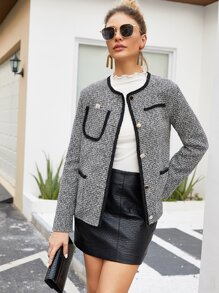 Tweed Contrast Binding Button Front Coat