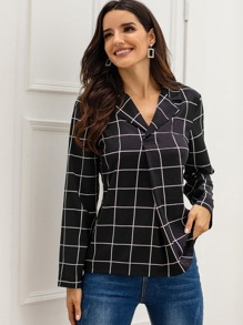 Lapel Neck Plaid Ruched Blouse