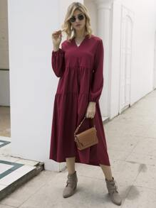 Notched Solid Ruched Smock Dress