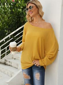 Solid Boat Neck Slouchy Tee
