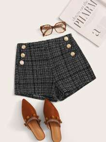 Button Side Tweed Shorts