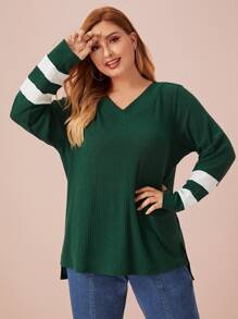 Plus Stripe Cuff Slit Hem Jumper