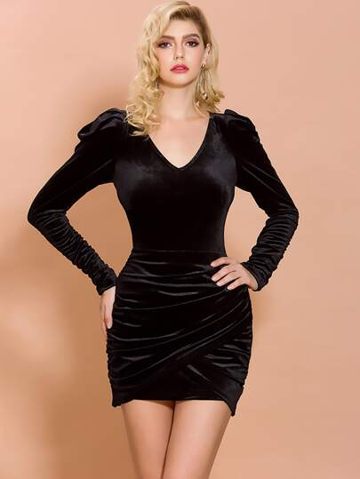 Missord Gigot Sleeve Slim Velvet Wrap Dress