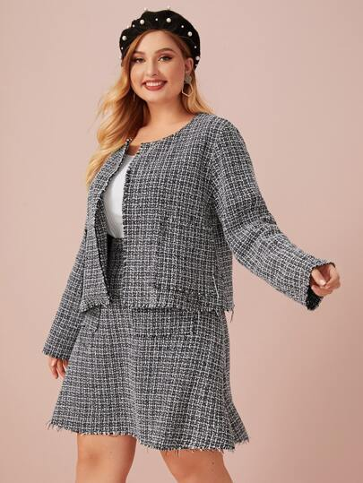 Plus Tweed Jacket & Pocket Front Midi Skirt