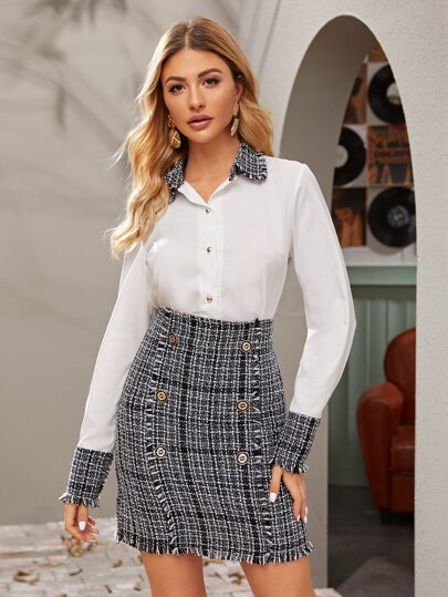 Contrast Panel Raw Trim Blouse & Tweed Bodycon Skirt