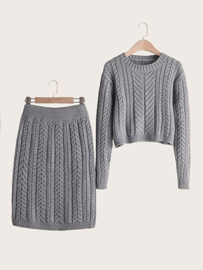 Solid Cable Knit Jumper & Sweater Skirt