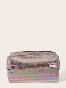 Snakeskin Print Holographic Makeup Bag
