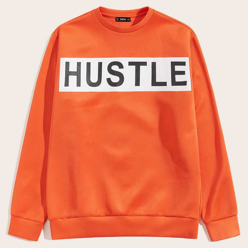 Guys Neon Orange Letter Graphic Sweatshirt, Orange bright
