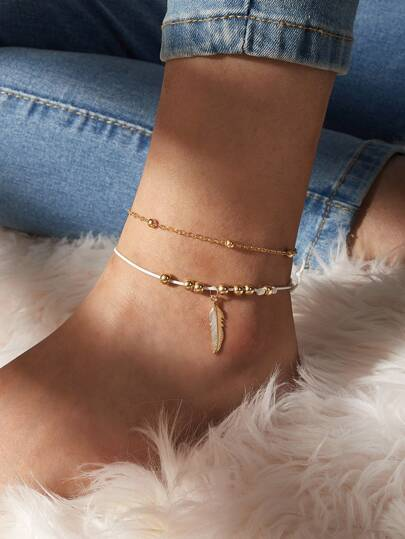2pc Leaf Charm Beaded Ankle Chain