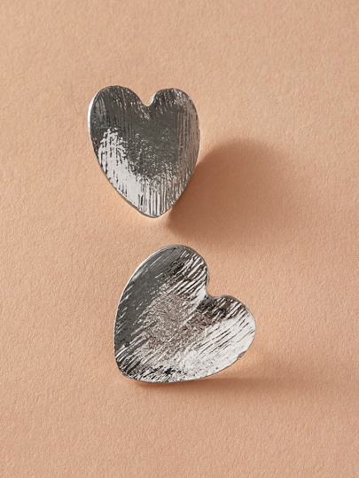 1pair Textured Heart Shaped Stud Earrings