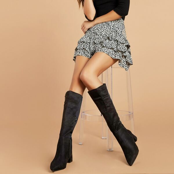 Pointed Toe Knee High Low Block Heel Stretch Boots, Black