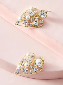 1pair Pearl & Rhinestone Decor Heart Drop Earrings