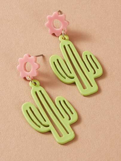 1pair Cactus Drop Earrings