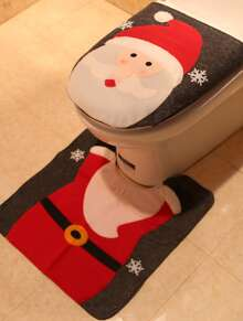 2pcs Santa Claus Foot Pad With Toilet Seat Cover