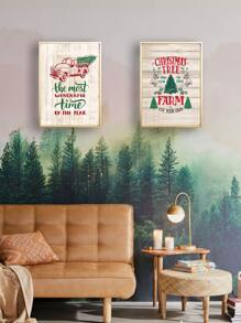 1pc Christmas Wall Art Print Without Frame
