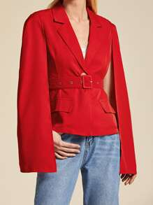 Lapel Collar Belted Single Button Cape Blazer