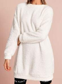 Drop Shoulder Solid Longline Teddy Sweatshirt