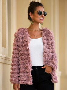 Faux Fur Open Front Solid Coat