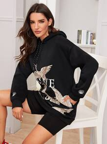 Crane & Letter Graphic Drawstring Hoodie