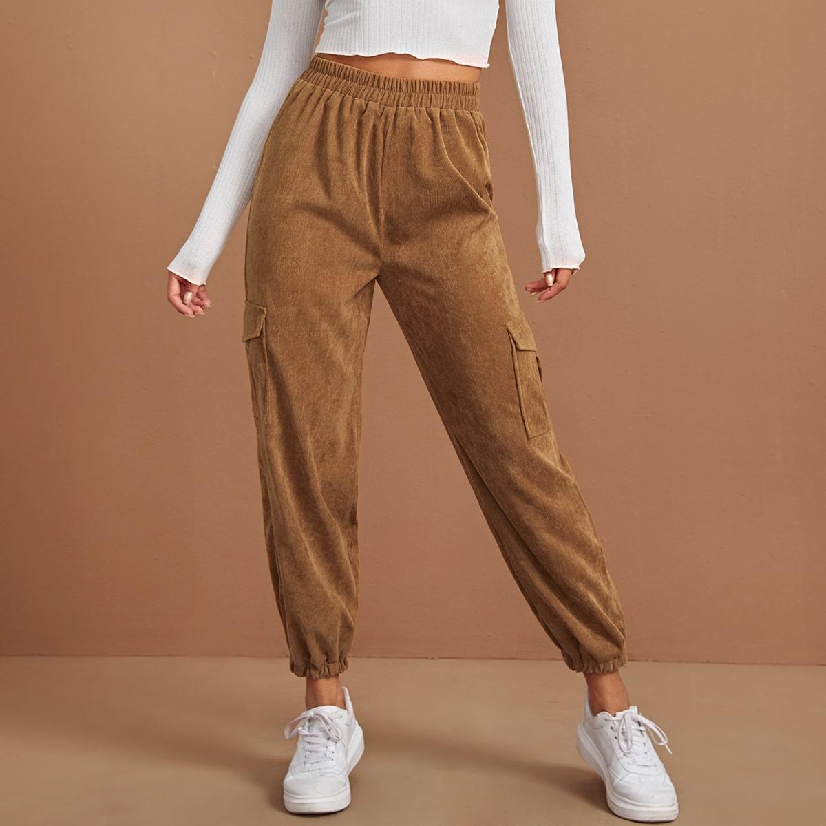 Вельветовые брюки с эластичной талией и карманом