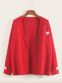 Heart Embroidery Open Front Cardigan