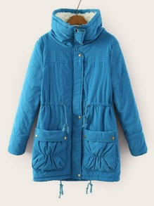 Double Pocket Lined Drawstring Parka Coat