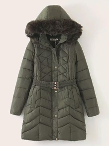 Belted Contrast Faux Fur Hooded Puffer Coat