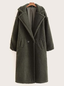 Pocket Side Lapel Neck Teddy Pea Coat
