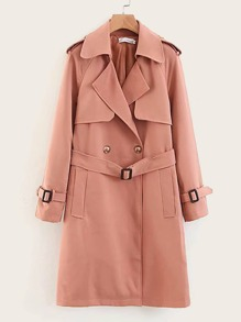 Pocket Side Belted Trenched Coat