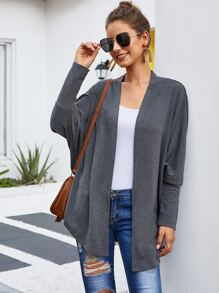 Solid Batwing Sleeve Open Front Cardigan