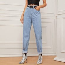 High Waist Mom Jeans Without Belt