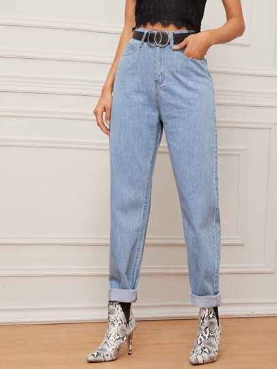 Light Wash Mom Jeans Without Belt