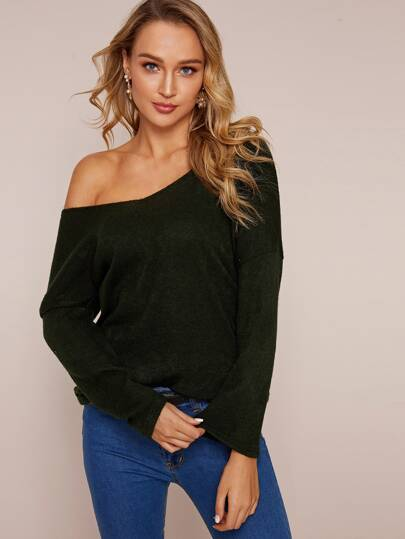 Criss Cross Lace Back Solid Sweater