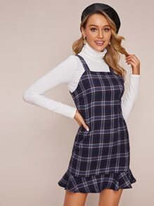 Plaid Flounce Hem Pinafore Dress
