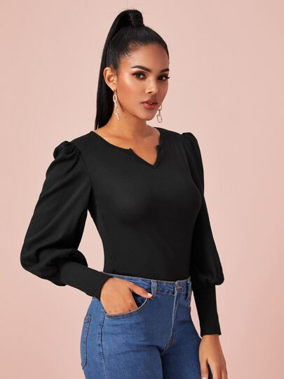Solid Notched Neck Puff Sleeve Tee