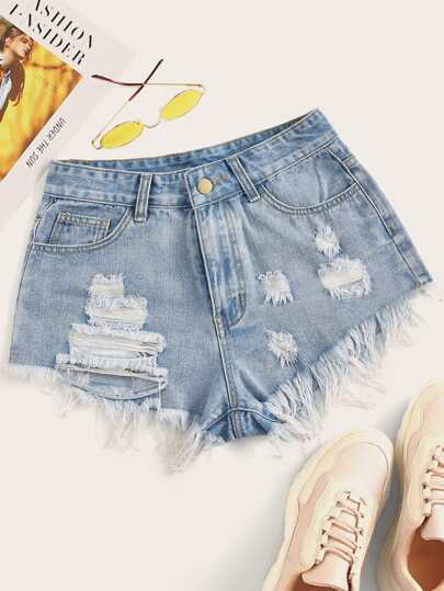Distressed Raw Hem Hot Pants