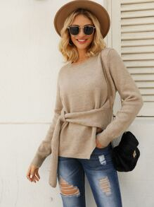 Split Side Self Tie Sweater