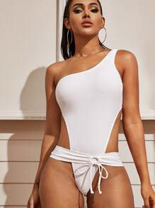 Cut-out One Shoulder One Piece Swimwear