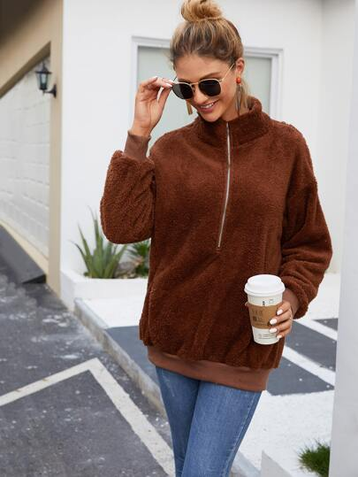 Slant Pocket Half Placket Teddy Sweatshirt