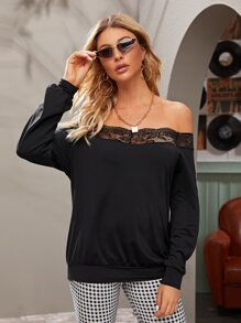 Solid Bardot Lace Panel Sweatshirt