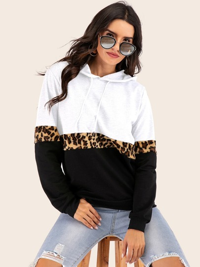 Color-block Leopard Panel Drawstring Hoodie