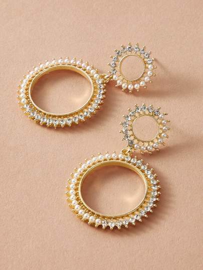 1pair Pearl & Rhinestone Decor Round Drop Earrings