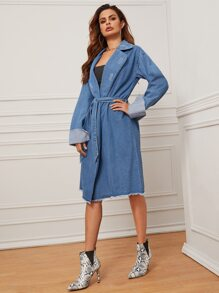 Raw Hem Lapel Collar Belted Denim Coat