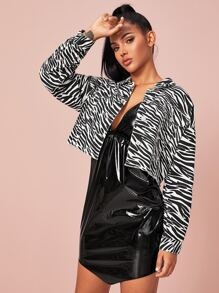 Zebra Striped Raw Hem Crop Denim Jacket