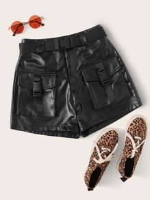 Plus Buckle Belted PU Utility Shorts