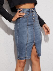Topstitching Split Bodycon Denim Skirt