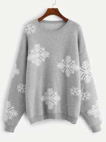 Plus Snowflake Pattern Drop Shoulder Sweater