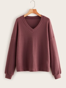 Plus Waffle Knit Drop Shoulder Sweater