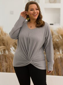 Plus Waffle Knit Twist Front Sweater