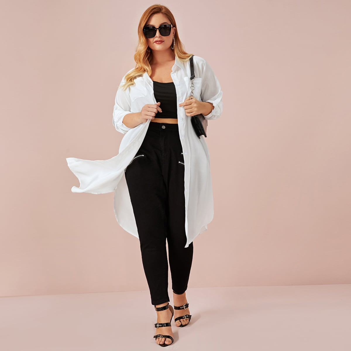 Длиная блуза размера плюсс карманом